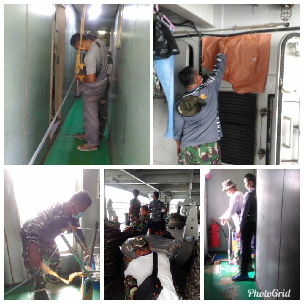 Tingkatkan Kebersihan Dan Kesehatan Lingkungan 3 Unsur KRI Satlinlamil 2 Surabaya Di Fumigasi